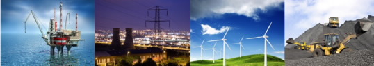 collage of energy images, including windmills, a nuclear power plant, an oil rig, and earth movers