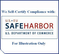 We Certify Compliance with: U.S. - E.U. Safe Harbor - U.S. Department of Commerce - For Illustration Only