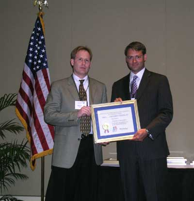 Accepting the Award: Paul Anderson, Vice President of Sales and Marketing
