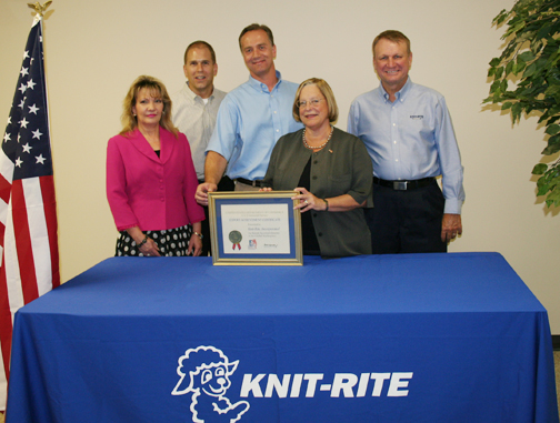 Knit Rite, Inc receiving its award