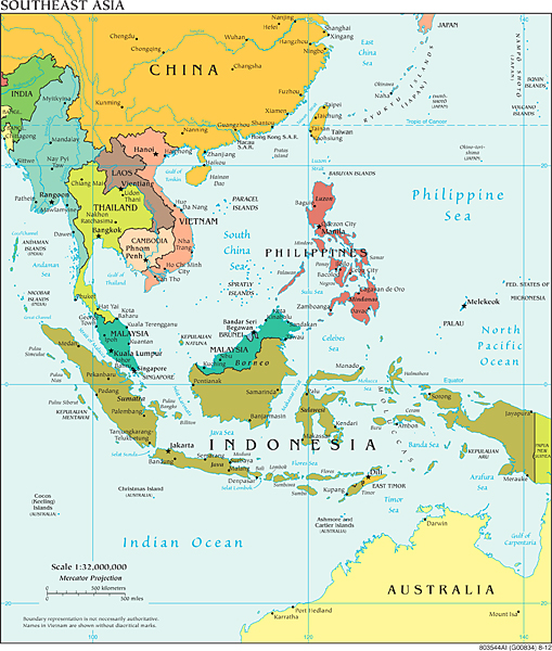 Map of the region, including Thailand, Malaysia, and the Philippines