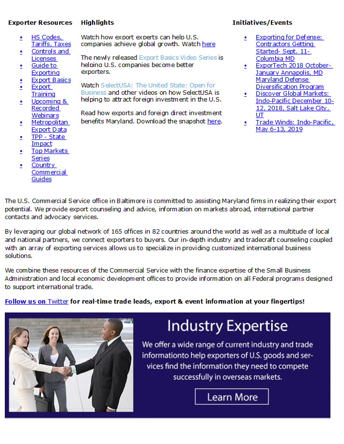Export gov - Baltimore USEAC Welcome Page